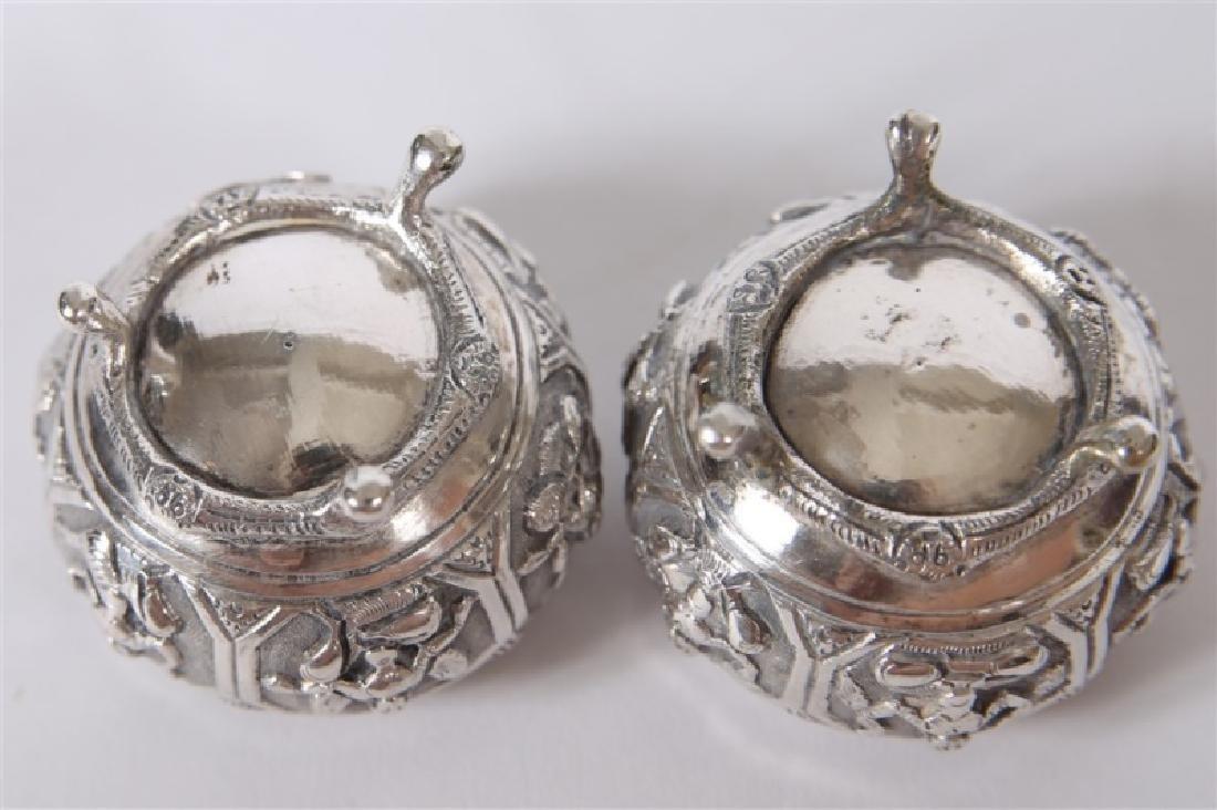 Pair of Sterling Silver Raised Open Salts - 4