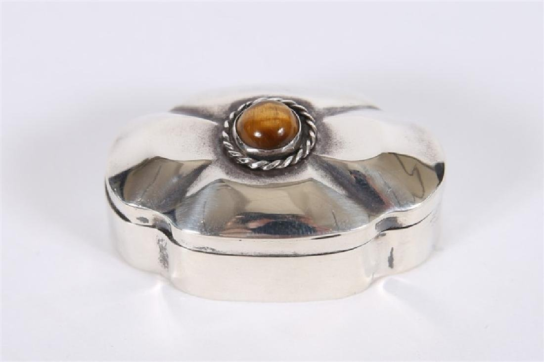 Taxco, Sterling Silver & Tiger's Eye Pill Box