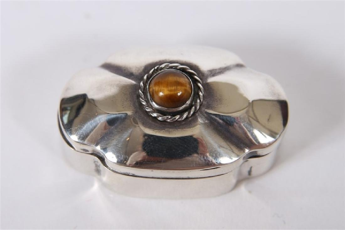Taxco, Sterling Silver & Tiger's Eye Pill Box - 5