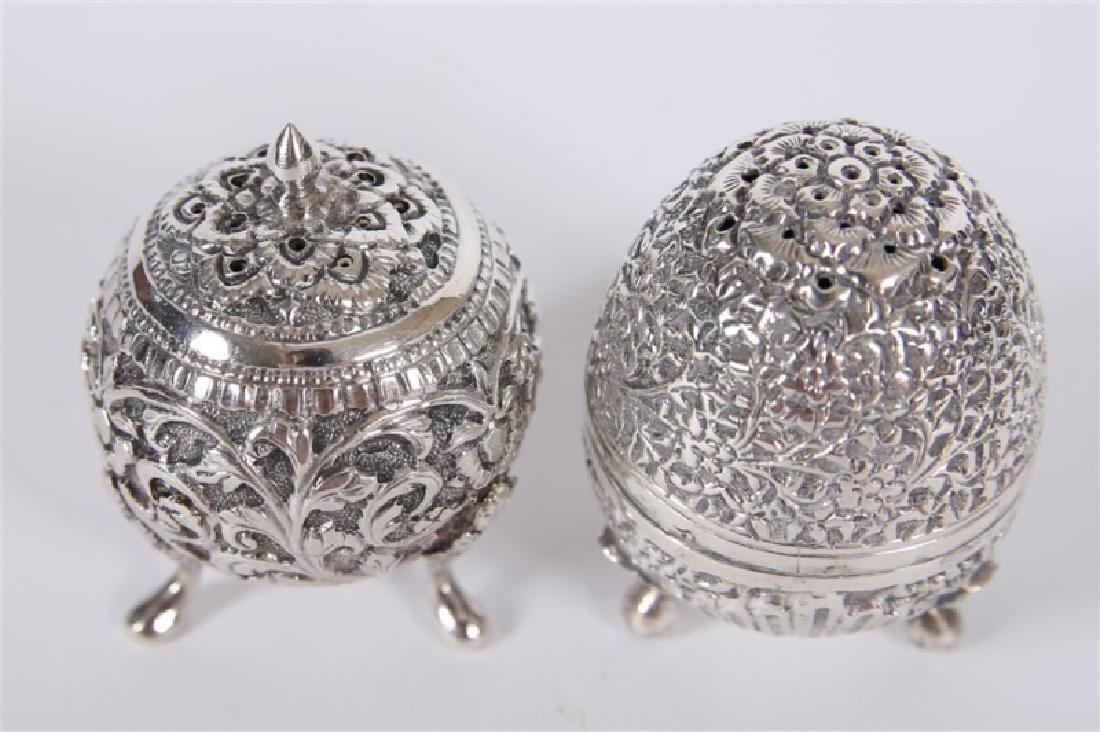 Sterling Silver Footed Salt & Pepper Shaker Set - 2