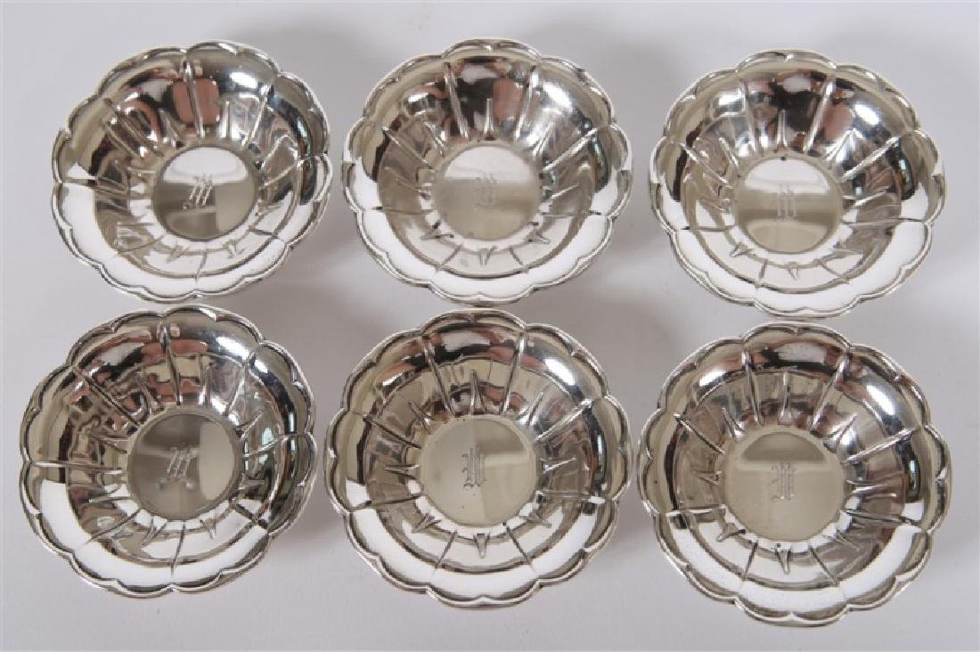 Set of Six Sterling Silver Scalloped Nut Dishes