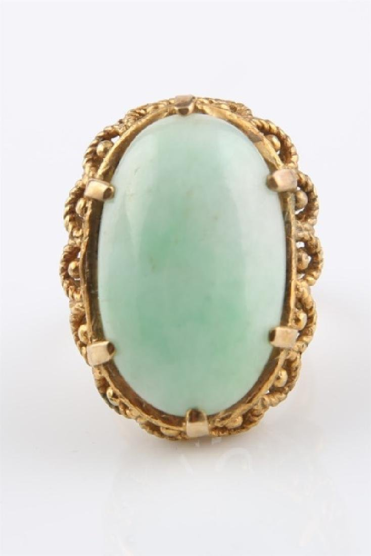14kt Yellow Gold and Jadeite Ring - 2