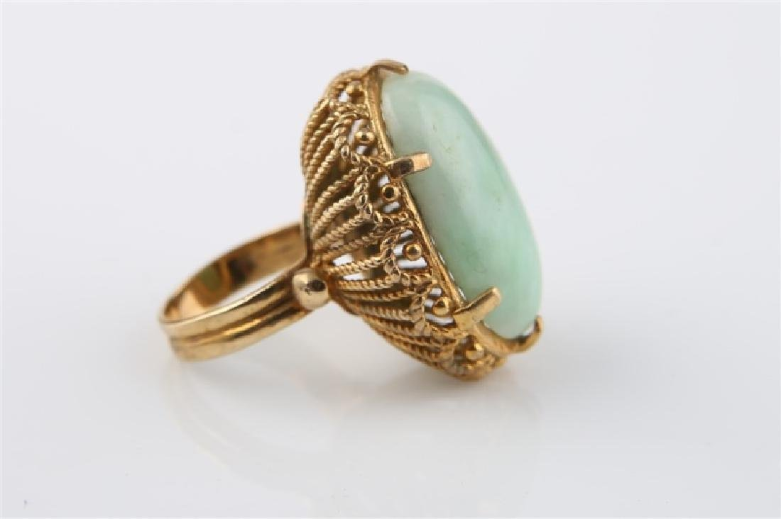14kt Yellow Gold and Jadeite Ring - 3
