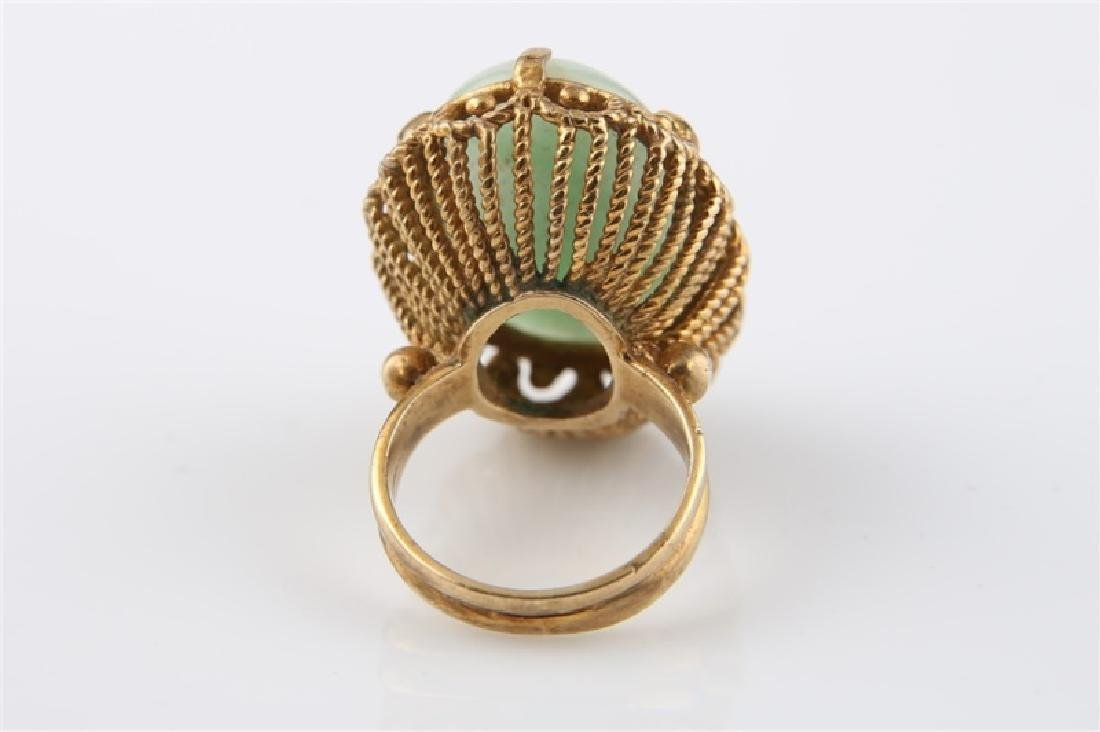 14kt Yellow Gold and Jadeite Ring - 4