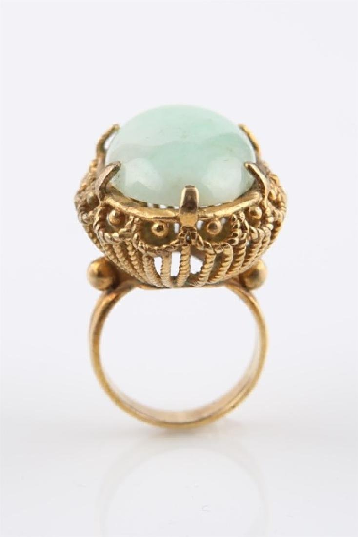 14kt Yellow Gold and Jadeite Ring - 7