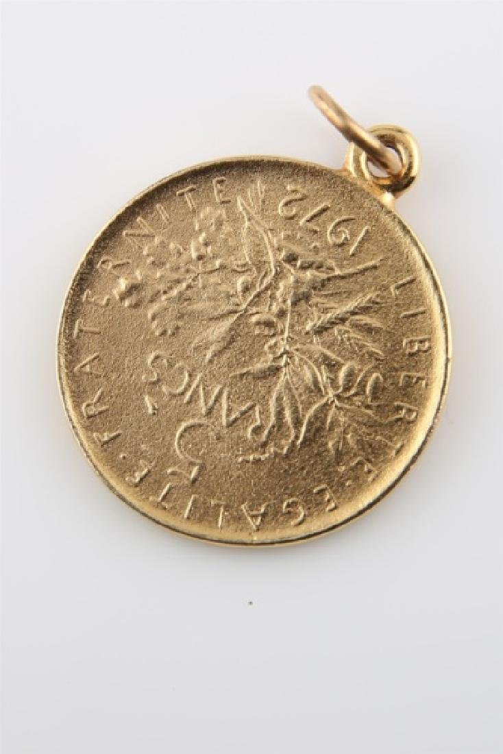 10kt Yellow Gold Reproduction 5 Franc Coin Pendant - 2