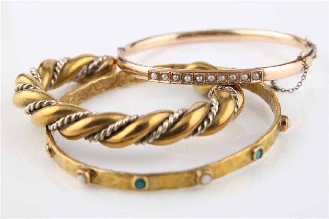 Lot of Three Gold / Gold-Tone Bracelets
