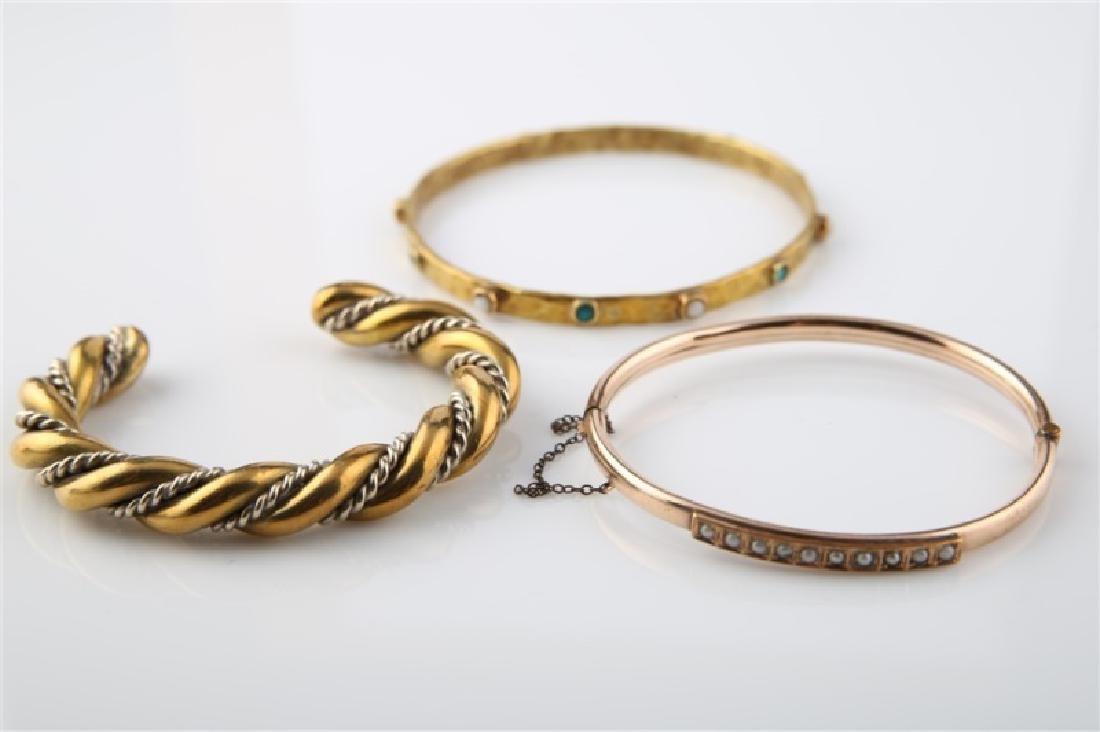 Lot of Three Gold / Gold-Tone Bracelets - 2
