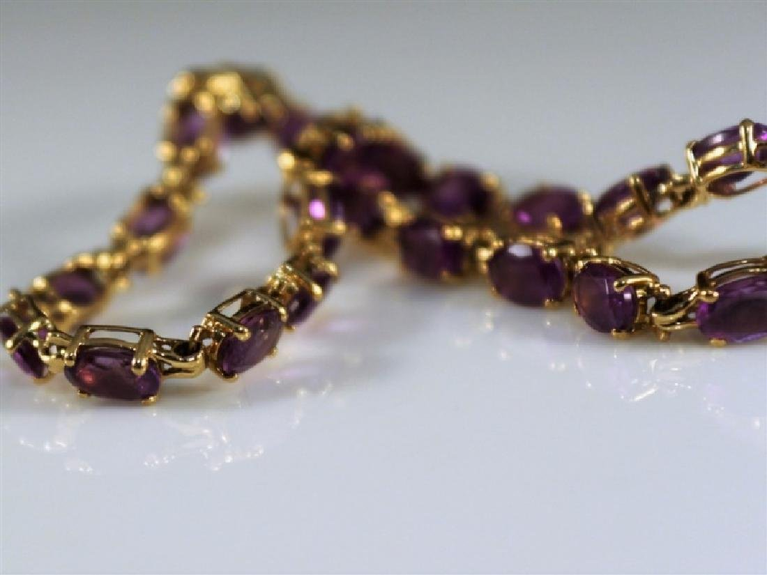 14k Yellow Gold and Amethyst Bracelet - 2