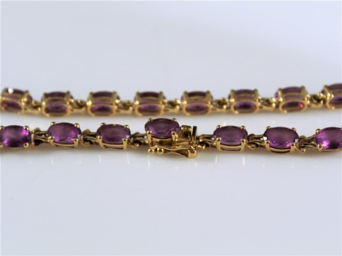 14k Yellow Gold and Amethyst Bracelet - 3