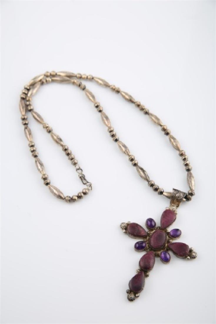 Ella Linkin Sterling Amethyst Cross Necklace