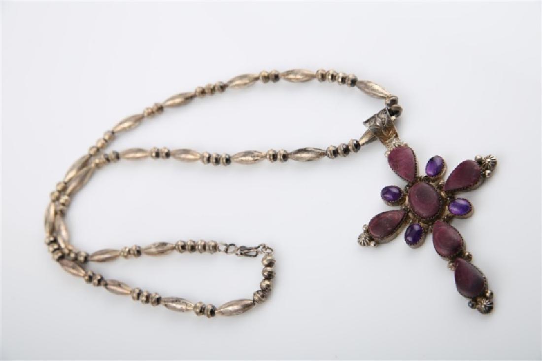 Ella Linkin Sterling Amethyst Cross Necklace - 2