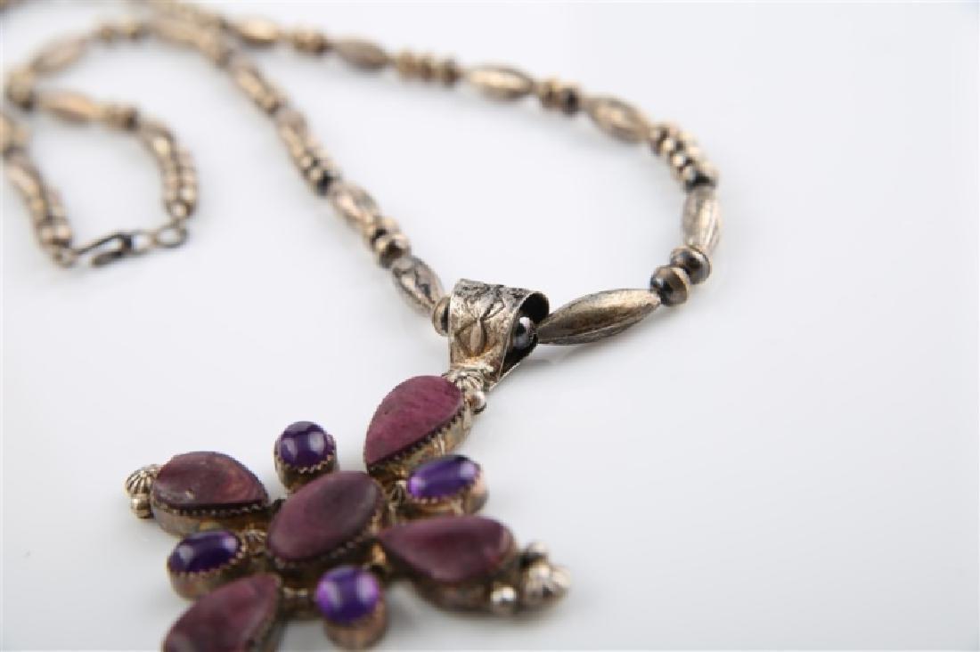 Ella Linkin Sterling Amethyst Cross Necklace - 4