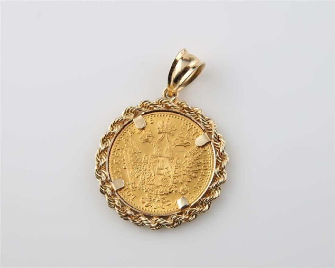 1915 Austria-Hungary 4 Ducat Gold Coin Pendant - 2