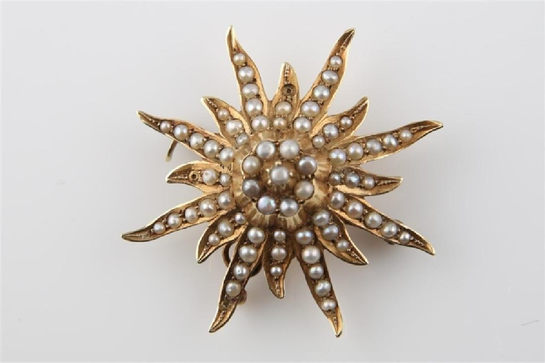14kt Yellow Gold and Pearl Sunburst Brooch