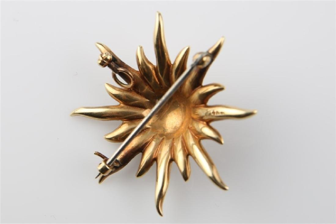 14kt Yellow Gold and Pearl Sunburst Brooch - 2