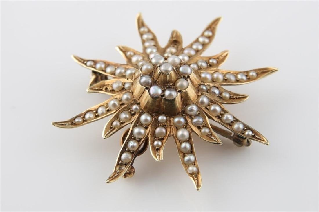 14kt Yellow Gold and Pearl Sunburst Brooch - 4