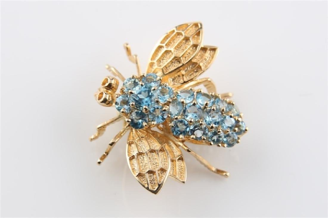14kt Yellow Gold and Blue Topaz Bee Pin