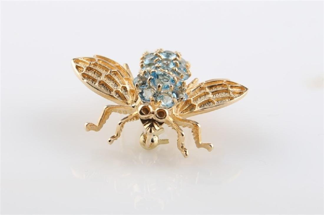 14kt Yellow Gold and Blue Topaz Bee Pin - 2