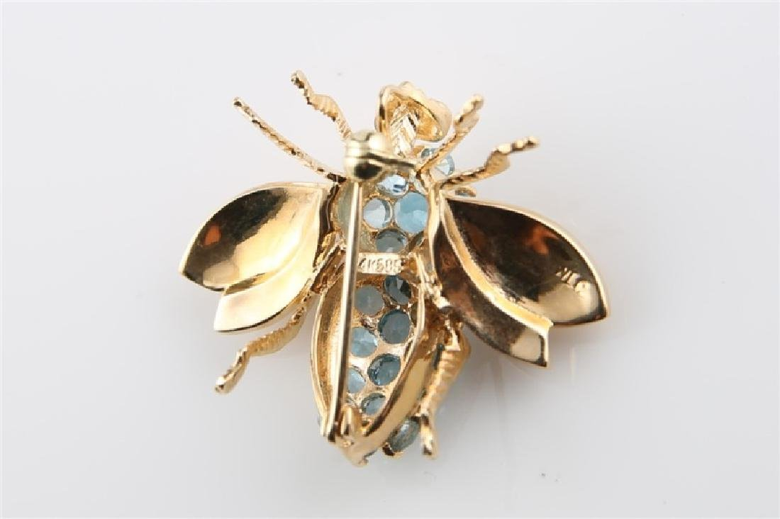 14kt Yellow Gold and Blue Topaz Bee Pin - 4