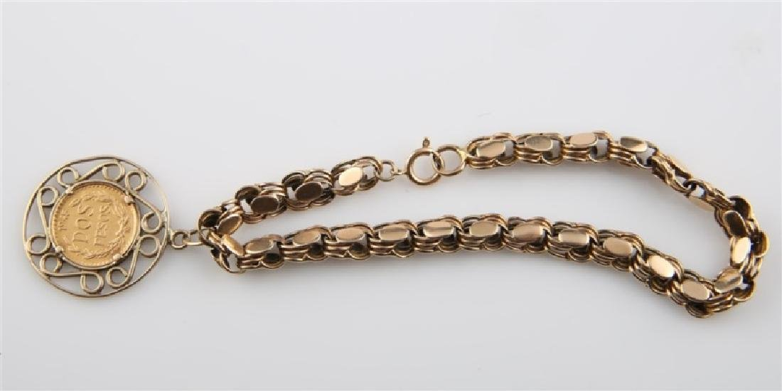14kt Yellow Gold Bracelet with Mexican 2 Peso Coin - 2