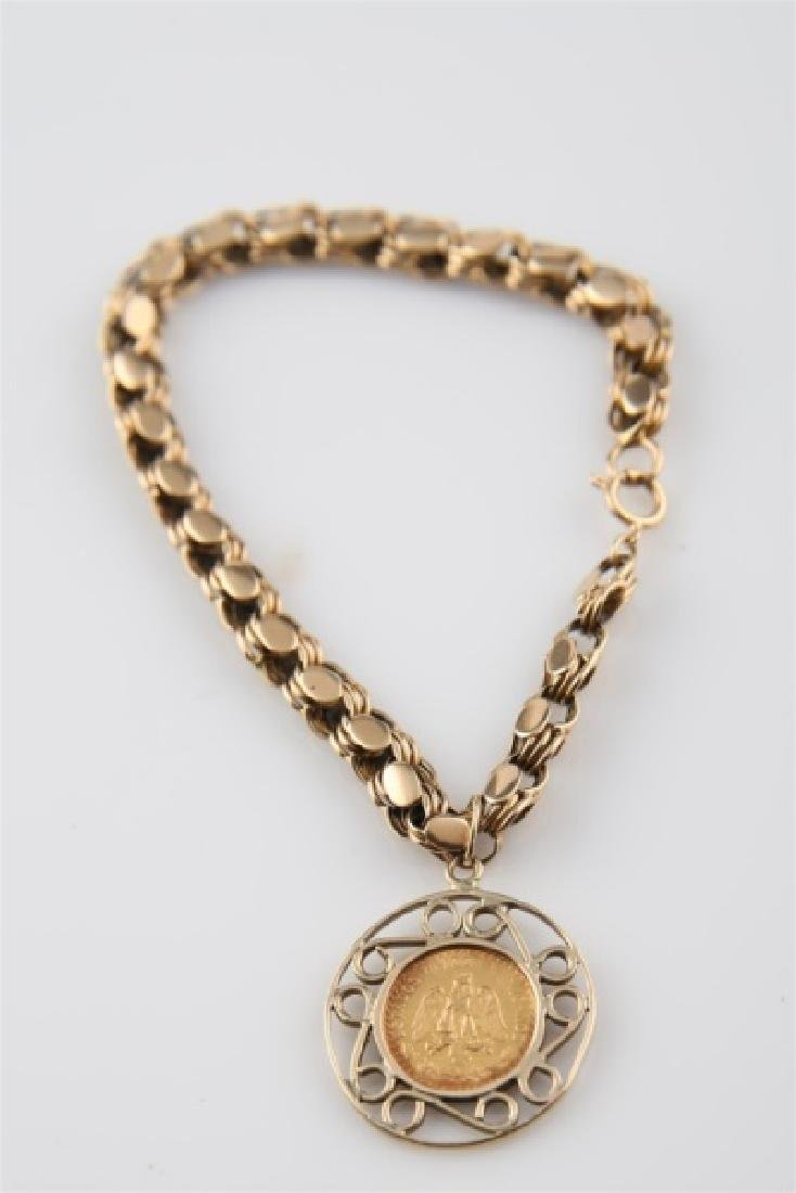 14kt Yellow Gold Bracelet with Mexican 2 Peso Coin - 3