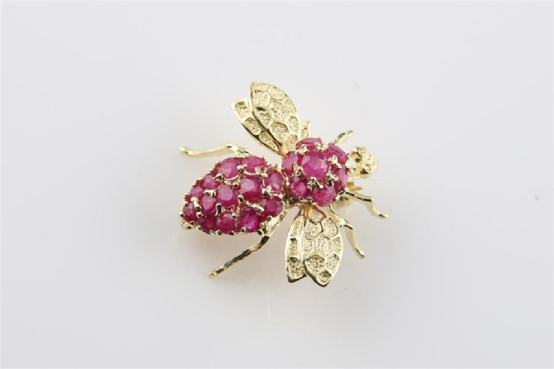 14kt Yellow Gold and Ruby Bee Pin