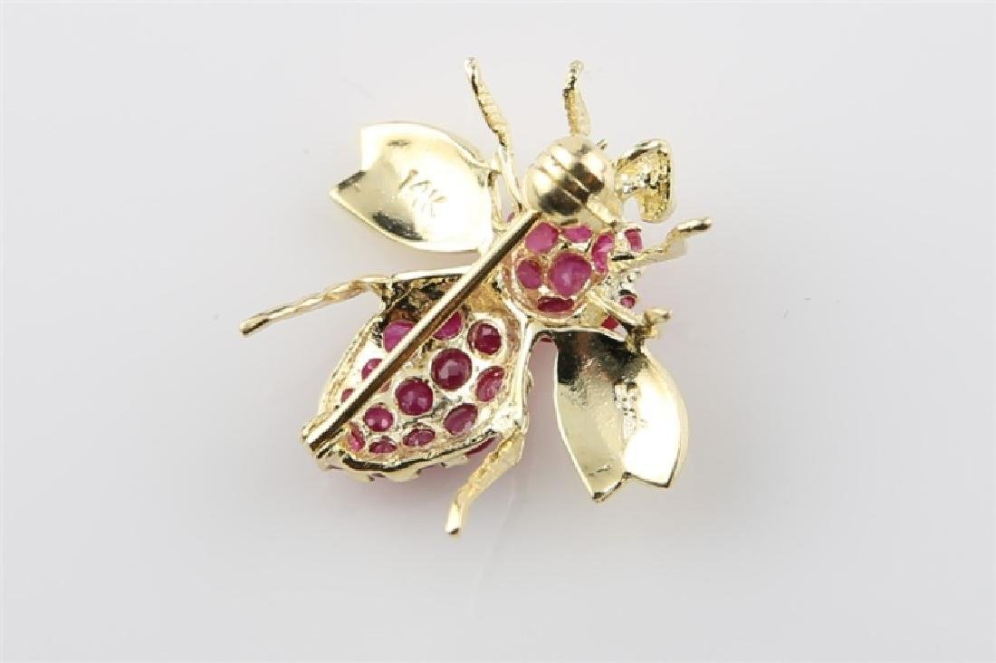 14kt Yellow Gold and Ruby Bee Pin - 3