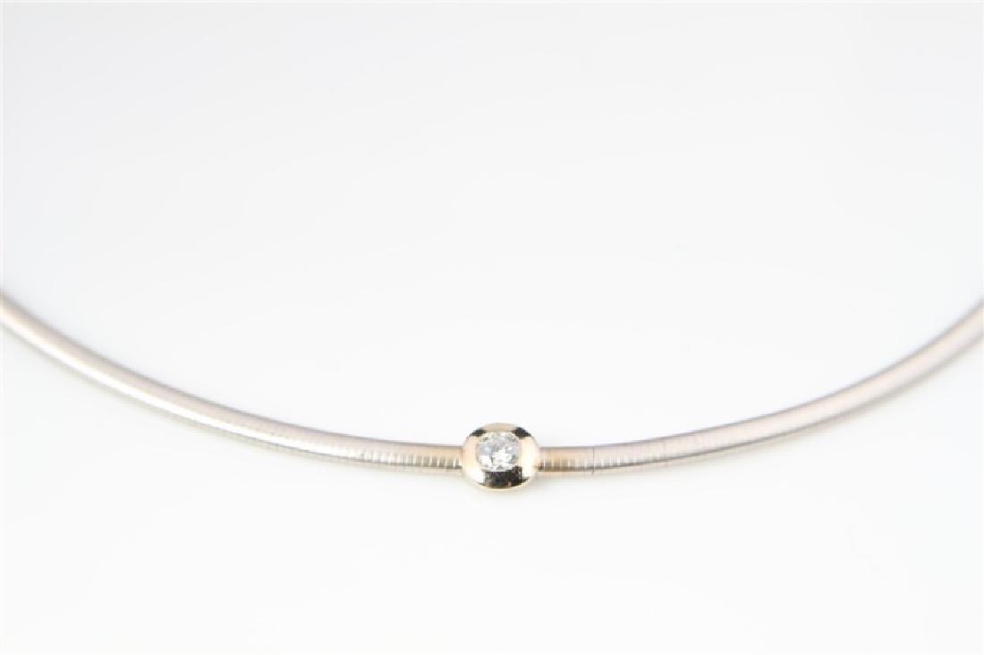 14k White Gold and Diamond Necklace - 2
