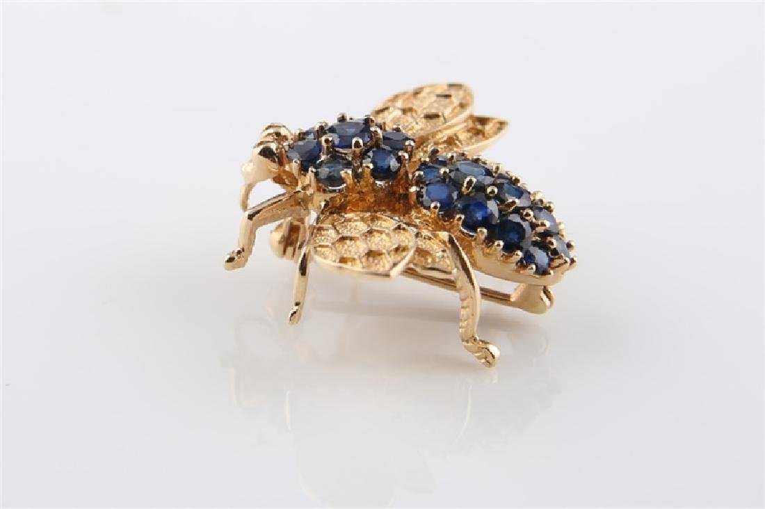 14kt Yellow Gold and Sapphire Bee Pin - 2