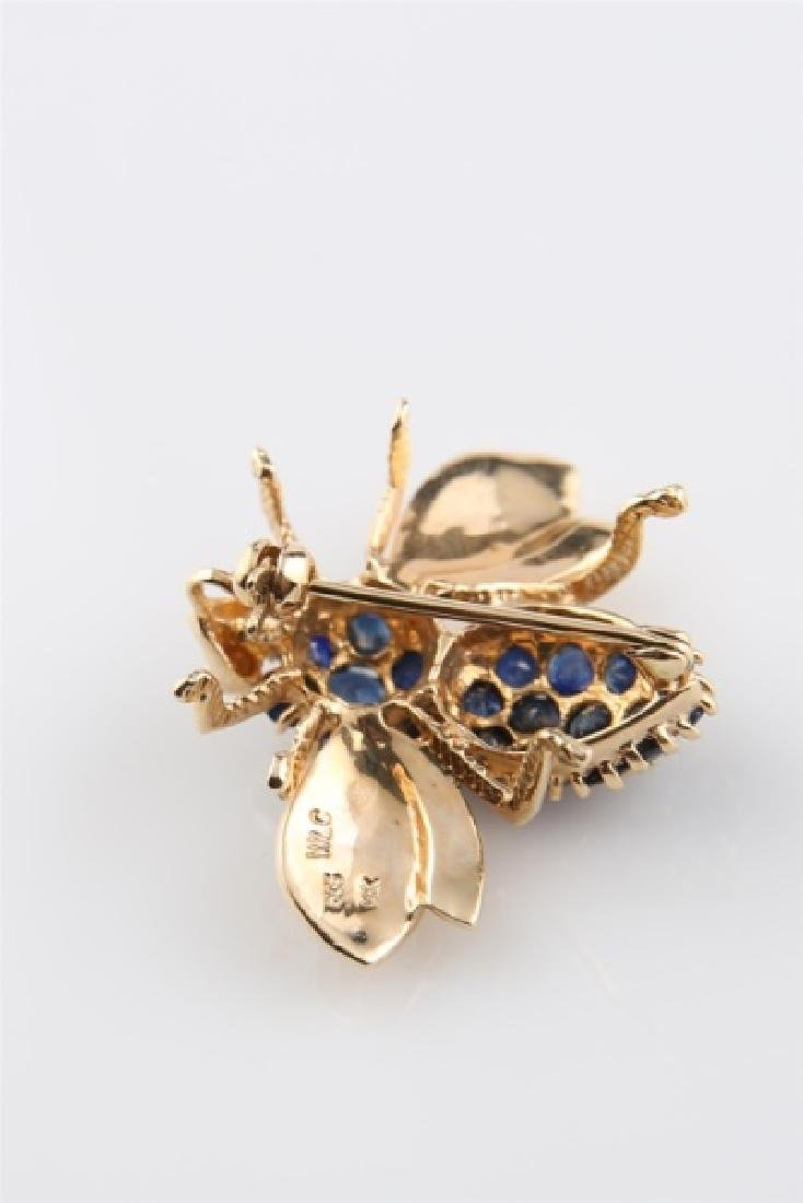 14kt Yellow Gold and Sapphire Bee Pin - 5