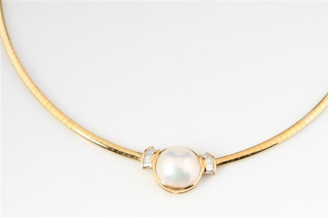 18k Yellow Gold, Mabé Pearl, and Diamond Necklace