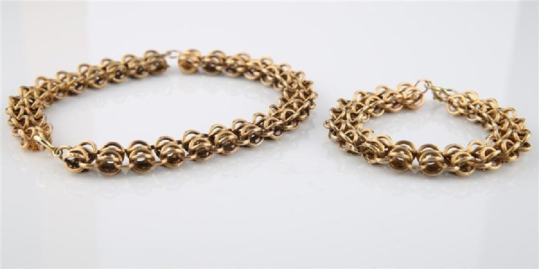 14kt Yellow Gold Flower Chain Bracelet and Chain