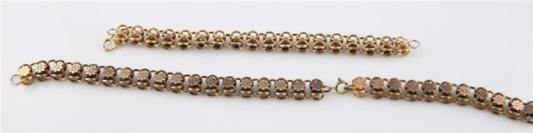 14kt Yellow Gold Flower Chain Bracelet and Chain - 2
