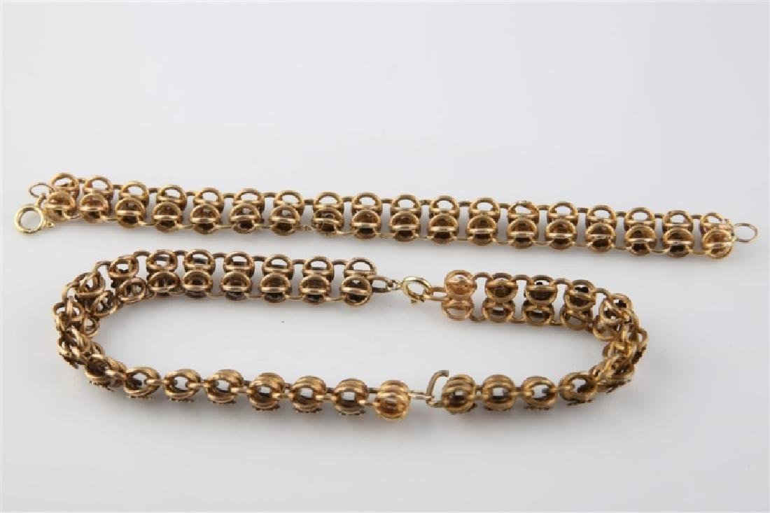 14kt Yellow Gold Flower Chain Bracelet and Chain - 3