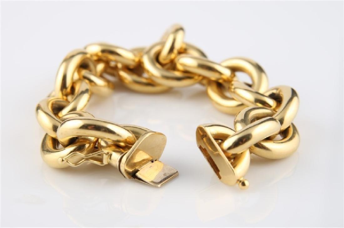 18kt Yellow Gold Italian Lady's Link Bracelet - 2