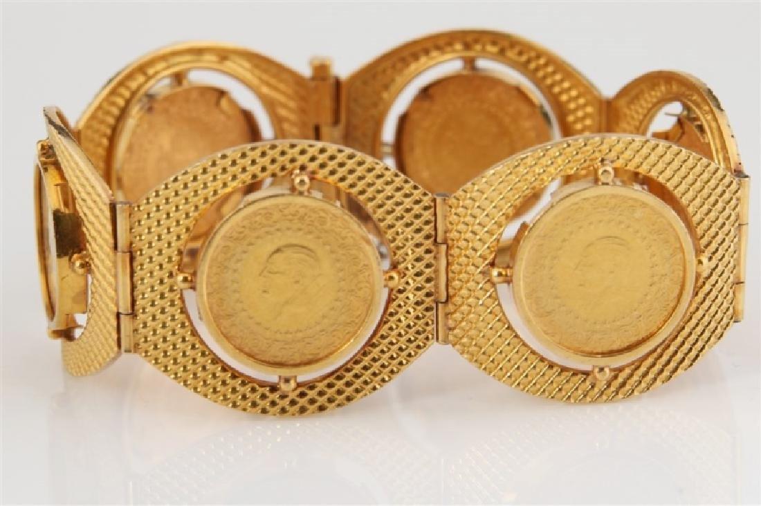 22k Yellow Gold & Turkey Kurush Coin Bracelet