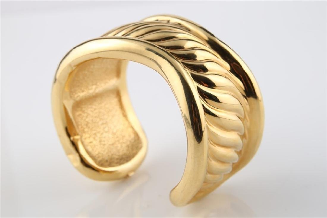14kt Yellow Gold Hollow Cuff Bracelet - 2