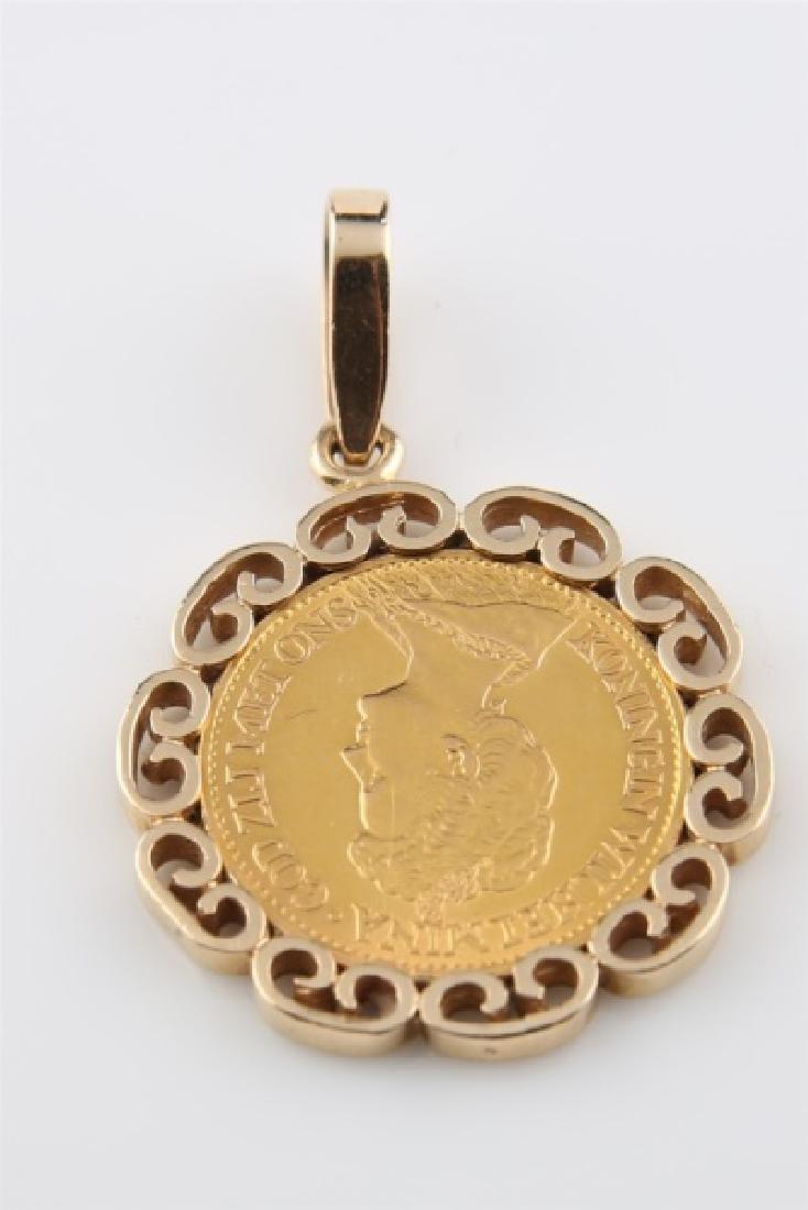 1912 Netherlands Wilhelmina 10 Gulden Coin Pendant