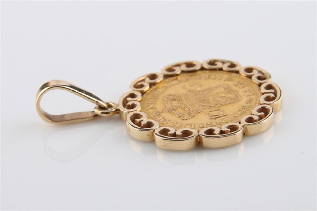 1912 Netherlands Wilhelmina 10 Gulden Coin Pendant - 2