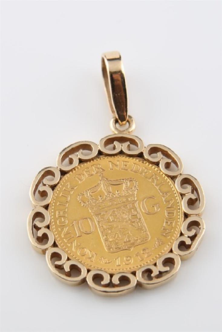 1912 Netherlands Wilhelmina 10 Gulden Coin Pendant - 3