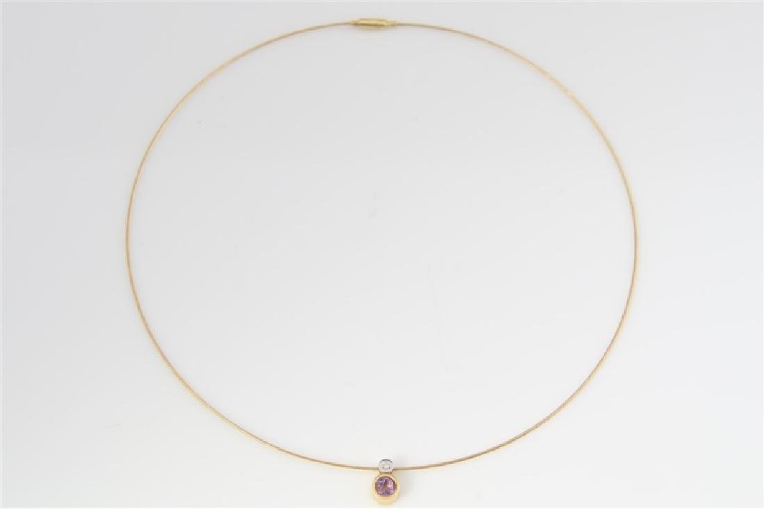 14k Yellow Gold Necklace with Diamond Pendant - 3