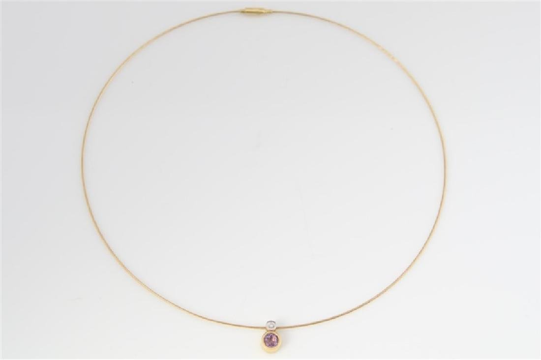 14k Yellow Gold Necklace with Diamond Pendant - 4