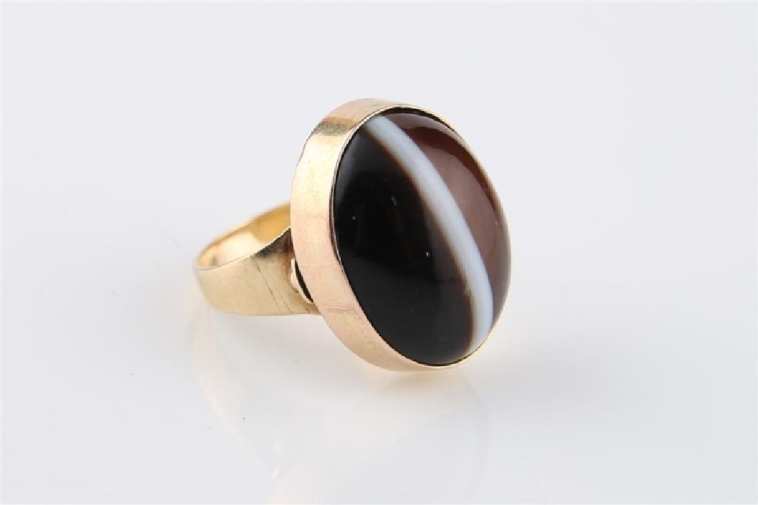 14kt Yellow Gold Striped Agate Ring - 2