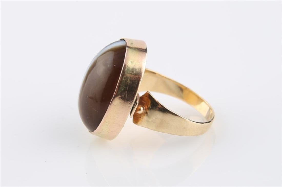 14kt Yellow Gold Striped Agate Ring - 3