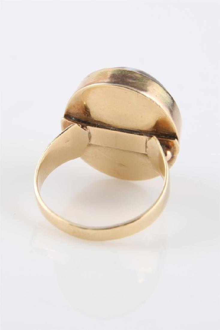 14kt Yellow Gold Striped Agate Ring - 4