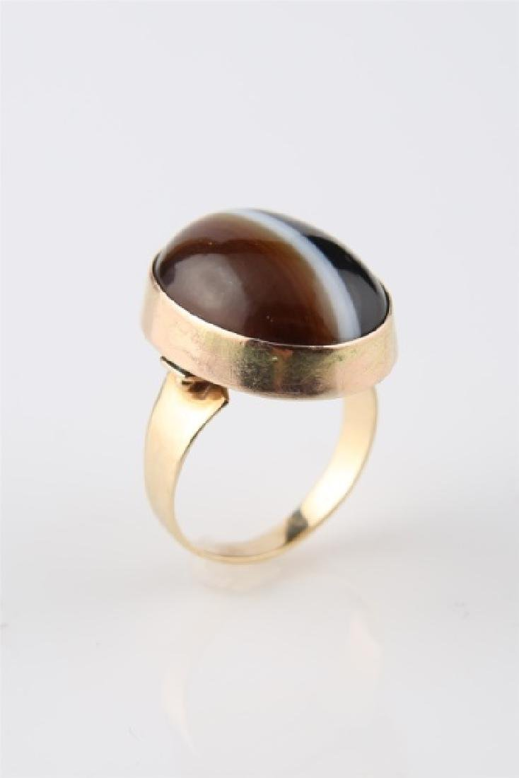 14kt Yellow Gold Striped Agate Ring - 5