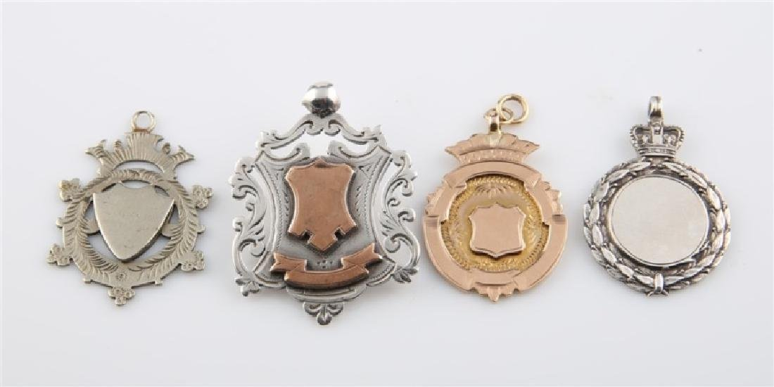 Lot of Four Sterling Silver / Gold Crest Charms