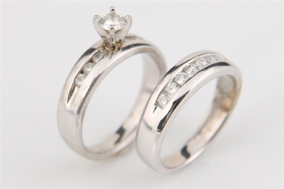10k White Gold with Diamonds Wedding Set - 2