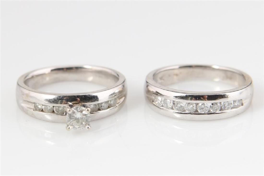 10k White Gold with Diamonds Wedding Set - 3
